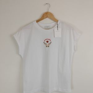 SANDRO PARIS | White T shirt A WORLD OF LOVE
